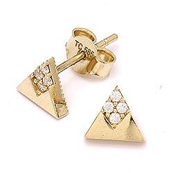 Trekantet ørestikker i 14 karat guld med zirkoner