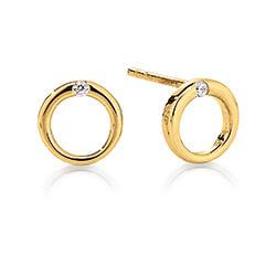 Pæne Kranz og Ziegler cirkel øreringe i 8 karat guld hvide zirkoner