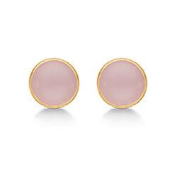 Søde Aagaard runde krystal øreringe i 8 karat guld ferskenfarvede krystaller