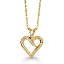Klassisk Aagaard hjerte vedhæng i 8 karat guld med forgyldt sølvhalskæde hvide zirkoner