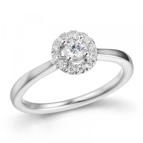 smuk diamantring i 14 karat hvidguld 0,25 ct