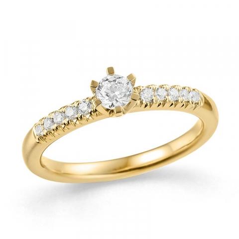 moderne diamant guldring i 14 karat guld 0,18 ct 0,12 ct