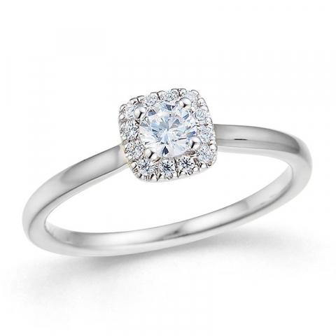 firkantet diamant hvidguldsring i 14 karat hvidguld 0,26 ct 0,084 ct