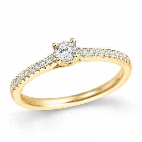 rund diamant guld ring i 14 karat guld 0,15 ct 0,1 ct