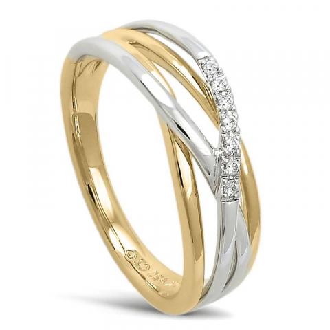 Smuk abstrakt diamant ring i 14 karat guld.- og hvidguld 0,045 ct