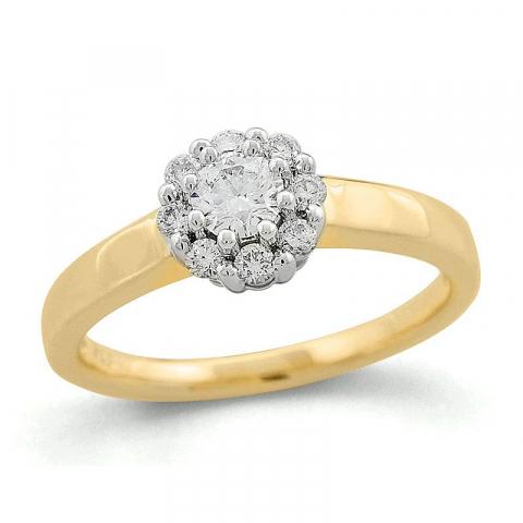 Rund diamantring i 14 karat guld 0,26 ct 0,24 ct