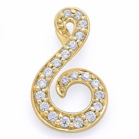 Sødt diamantvedhæng i 14 karat guld 0,13 ct