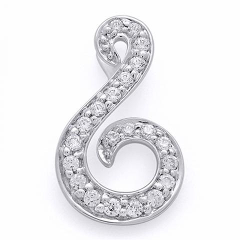 Fint diamantvedhæng i 14 karat hvidguld 0,13 ct