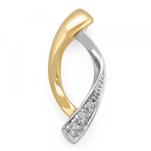 Fint abstrakt diamantvedhæng i 14 karat guld.- og hvidguld 0,02 ct