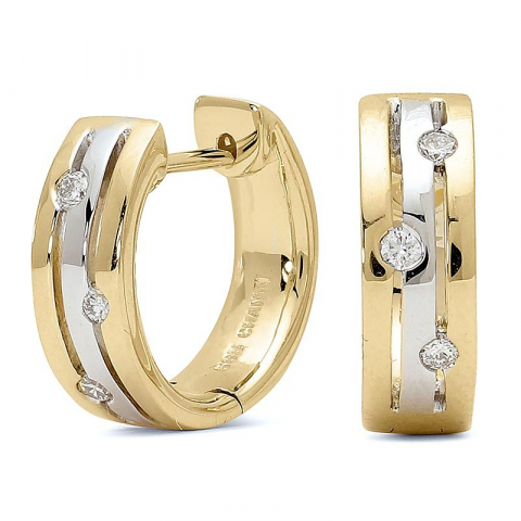 Søde 13 mm diamant creoler i 14 karat guld og hvidguld med diamanter