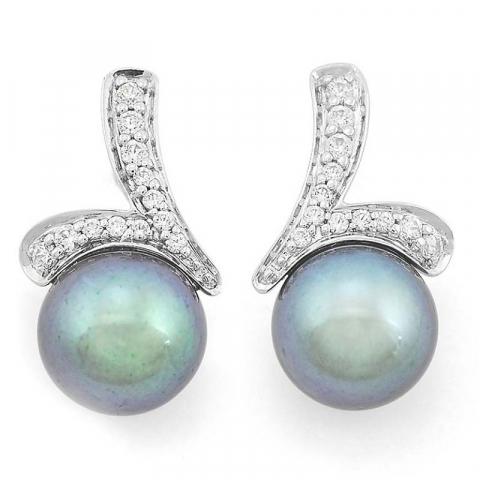 Flotte perle diamantøreringe i 14 karat hvidguld med diamanter
