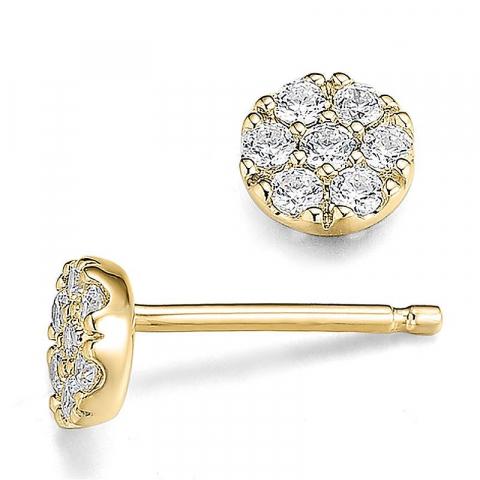 Fine diamantøreringe i 14 karat guld med diamanter