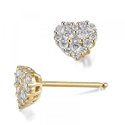 Hjerte diamantøreringe i 14 karat guld med diamanter