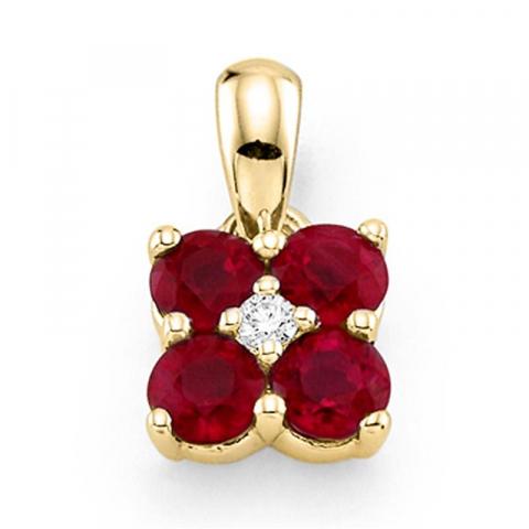 Sødt firkantet rubin vedhæng i 14 karat guld 0,015 ct