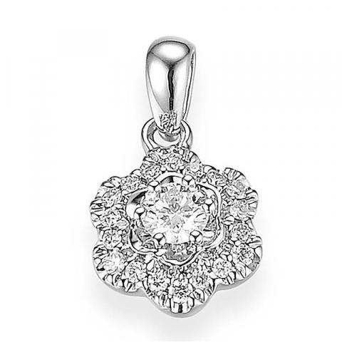 Sødt blomster diamant vedhæng i 14 karat hvidguld 0,11 ct 0,078 ct