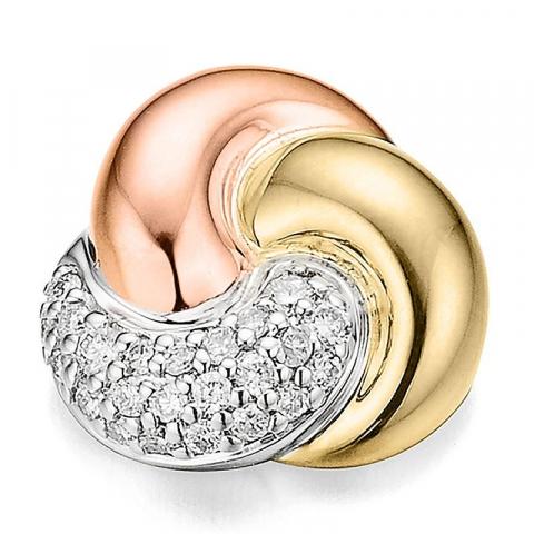 trendy rundt diamant vedhæng i 14 karat alm.- hvid- og rødguld 0,136 ct