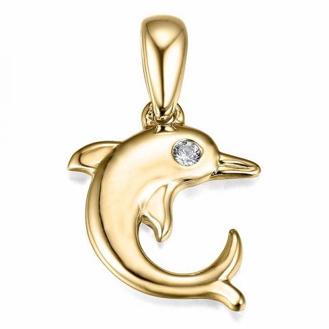 Sødt delfin diamant vedhæng i 14 karat guld 0,01 ct