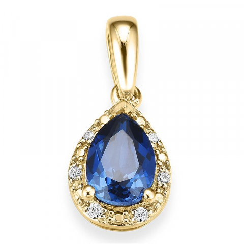 Dråbeformet safir diamantvedhæng i 14 karat guld 0,037 ct 0,80 (5 mm x 7mm) ct