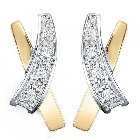 Moderne diamant ørestikker i 14 karat guld og hvidguld med diamanter
