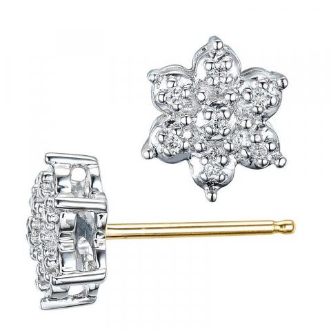 Flotte stjerne diamant ørestikker i 14 karat guld og hvidguld med diamanter
