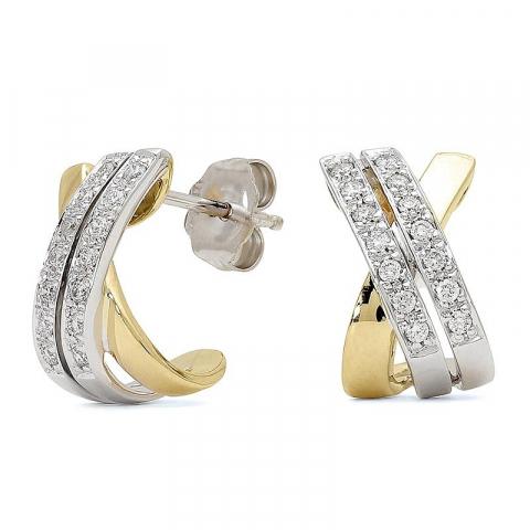 Trendy diamant halvcreoler i 14 karat guld og hvidguld med diamanter