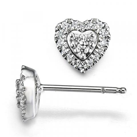 Hjerte diamantøreringe i 14 karat hvidguld med diamanter