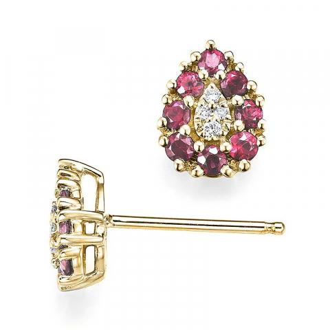 Dråbe rubin diamantøreringe i 14 karat guld med diamanter og rubiner
