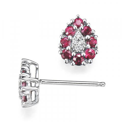 Dråbe rubin diamantøreringe i 14 karat hvidguld med diamanter og rubiner