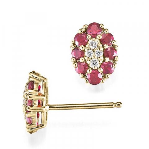 smukke rubin diamantøreringe i 14 karat guld med diamant og rubin