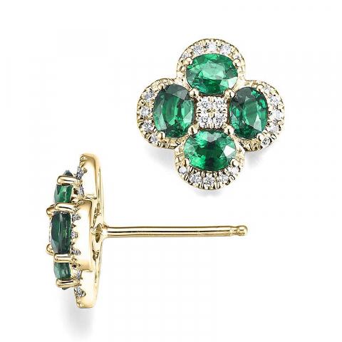 Blomster diamantøreringe i 14 karat guld med diamanter og smaragder