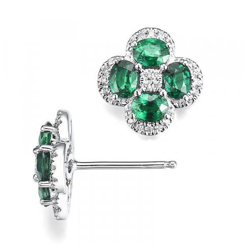 Blomster smaragd diamantøreringe i 14 karat hvidguld med diamanter og smaragder