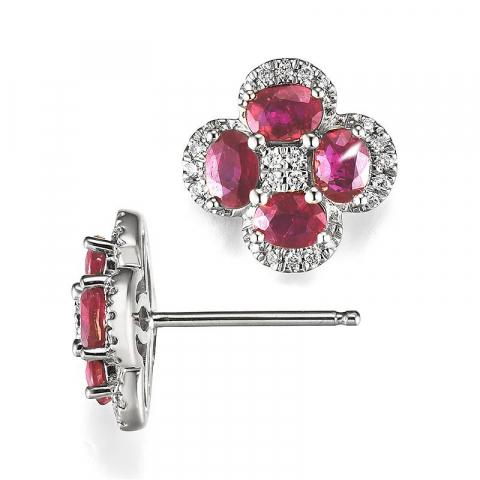 Blomster rubin diamantøreringe i 14 karat hvidguld med diamanter og rubiner