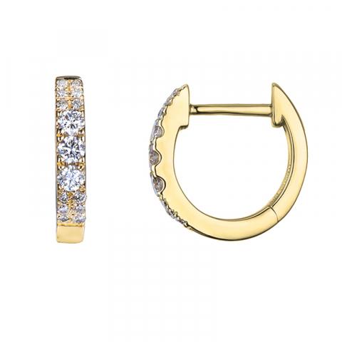 smukke 12 mm diamant creoler i 14 karat guld med diamant