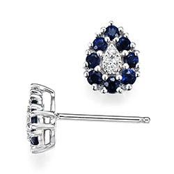 Dråbe safir diamantøreringe i 14 karat hvidguld med diamanter og safirer