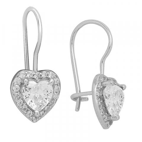 Fine hjerte ørestikker i sølv