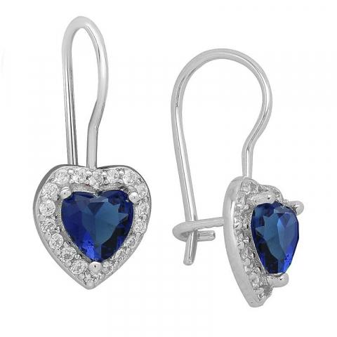Blå hjerte øreringe i sølv