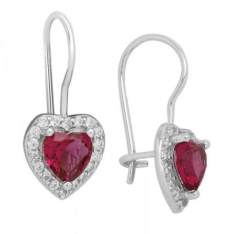 Søde hjerte øreringe i sølv