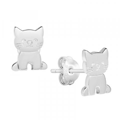 Søde katte ørestikker i sølv