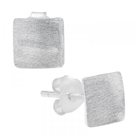 Flotte firkantet ørestikker i sølv