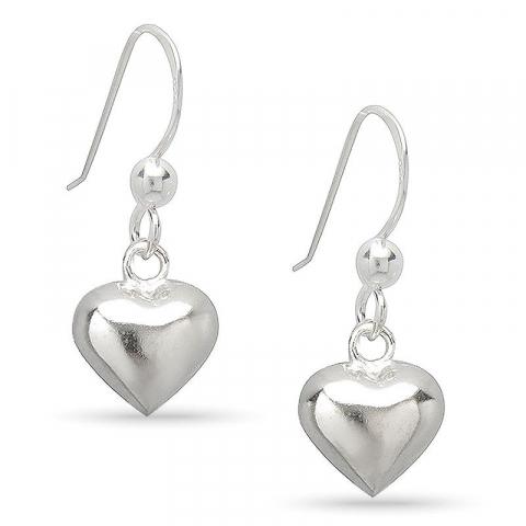 Lange hjerter øreringe i sølv