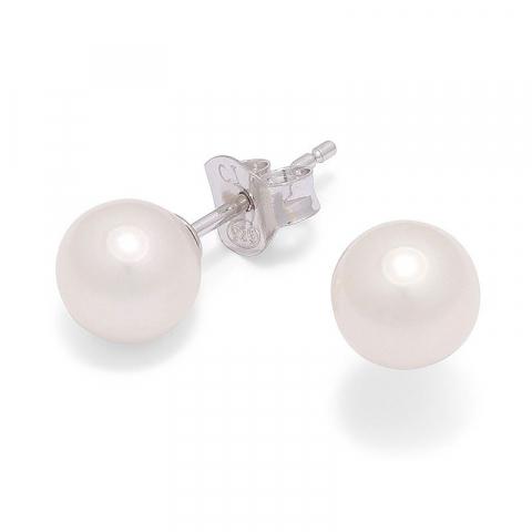 6 mm runde hvide perle ørestikker i sølv