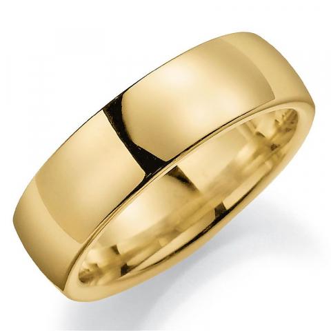 Bred 7 mm vielsesring i 9 karat guld
