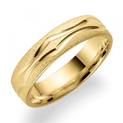 Mønstret 5 mm vielsesring i 9 karat guld
