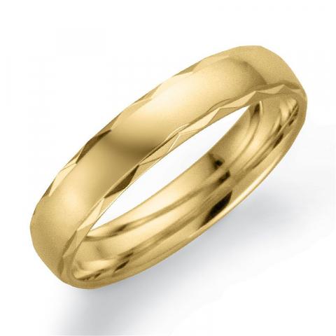 Mønstret 4 mm vielsesring i 9 karat guld