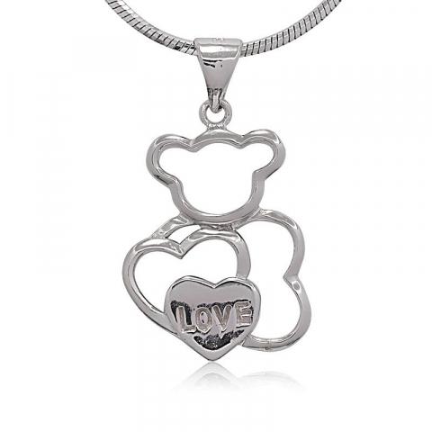Hjerte bamse vedhæng i sølv