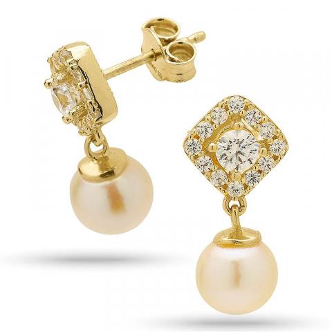 Klassiske perle øreringe i forgyldt sølv