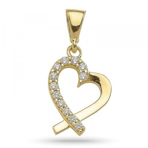 Fint hjerte vedhæng i forgyldt sølv