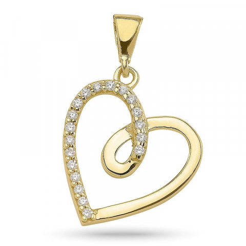 Simpelt hjerte vedhæng i forgyldt sølv