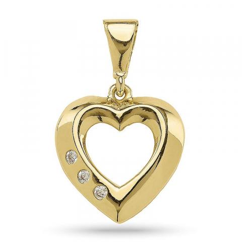 Sødt hjerte vedhæng i forgyldt sølv
