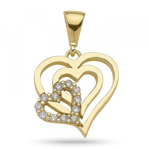 Lille hjerte zirkon vedhæng i forgyldt sølv